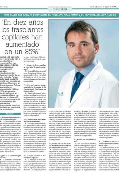 Doctor José María Mir en Salut i Força injerto capilar