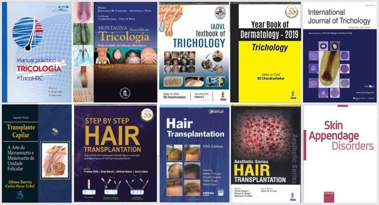 Principales libros, manuales y revistas científicas de tricología y trasplante capilar en la actualidad.