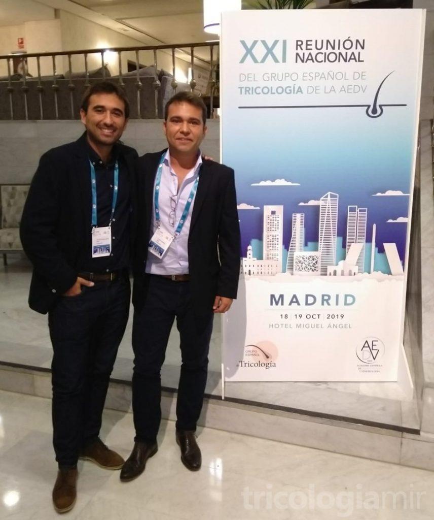 Joan Mir y José María Mir en la XXI Reunión Nacional del Grupo Español de Tricología en Madrid, Octubre de 2019.