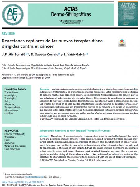 reacciones capilares de las nuevas terapias diana dirigidas contra el cancer