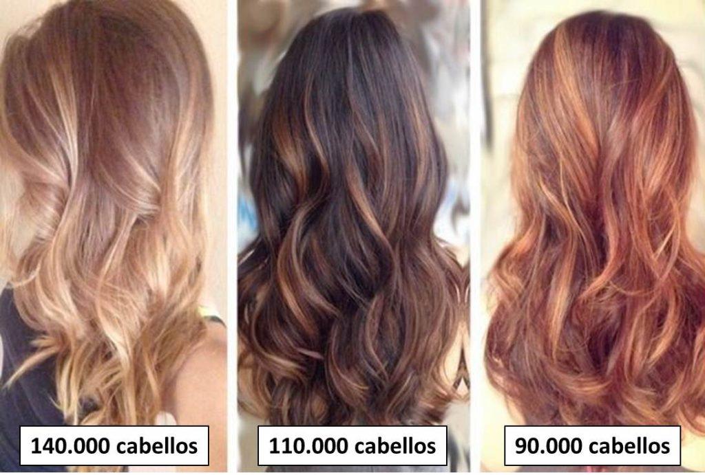 El número de cabellos totales puede variar dependiendo del color del cabello.