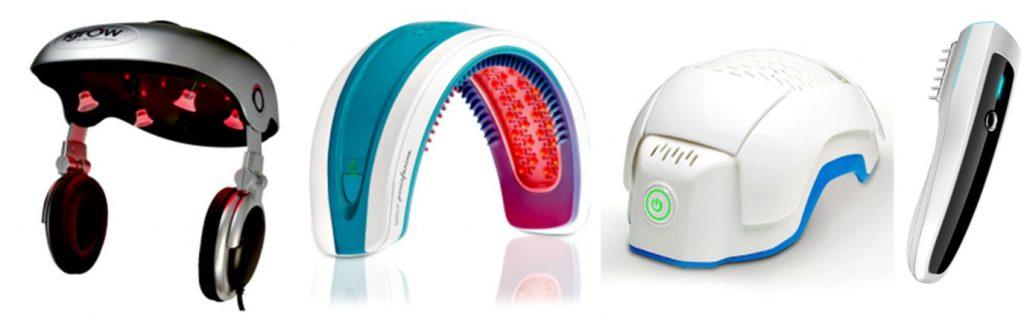 Diferentes dispositivos existentes de terapia láser de baja potencia para alopecia androgenética.